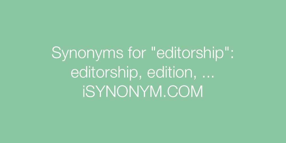 Synonyms editorship