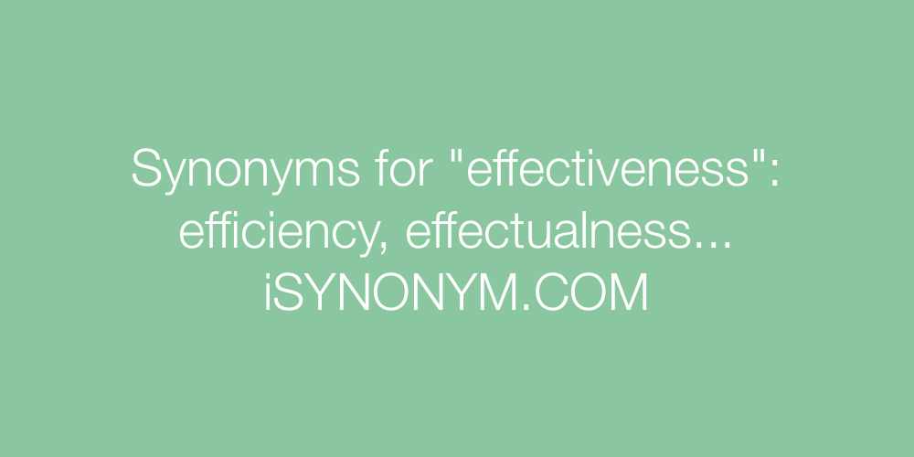 Synonyms effectiveness