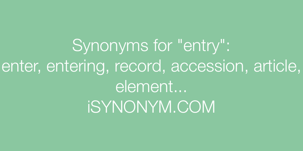 Synonyms entry