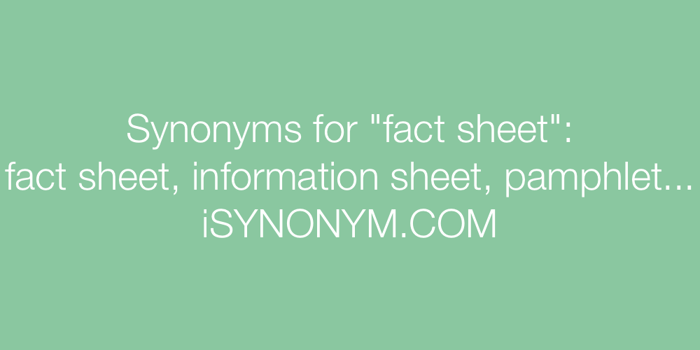 Synonyms fact sheet