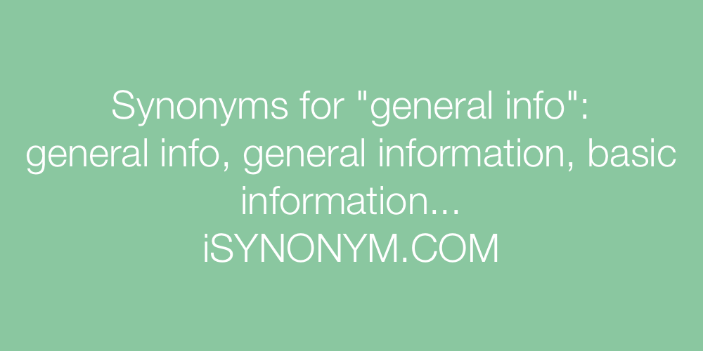 Synonyms general info