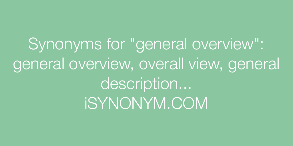 Synonyms general overview