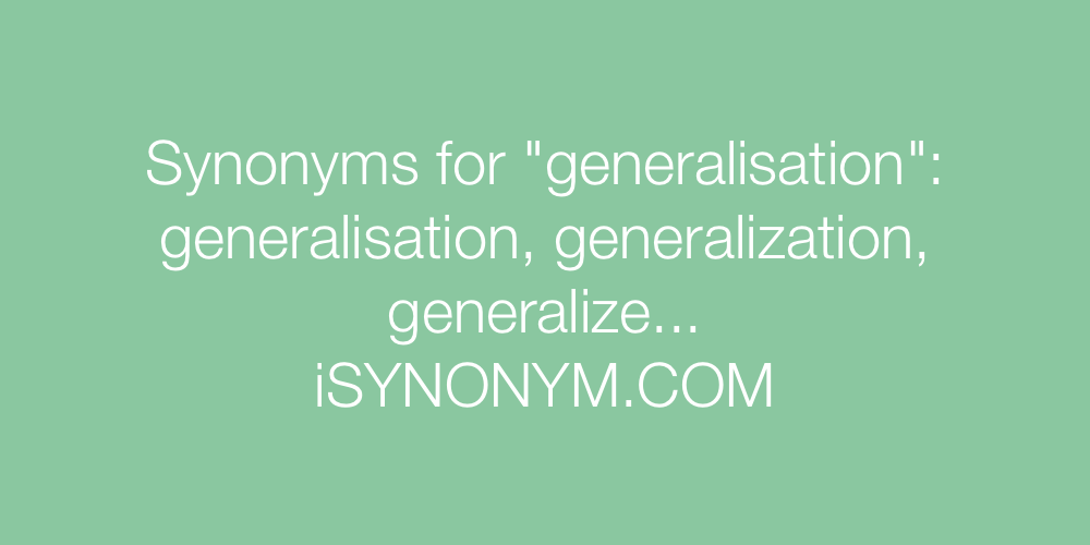 Synonyms generalisation