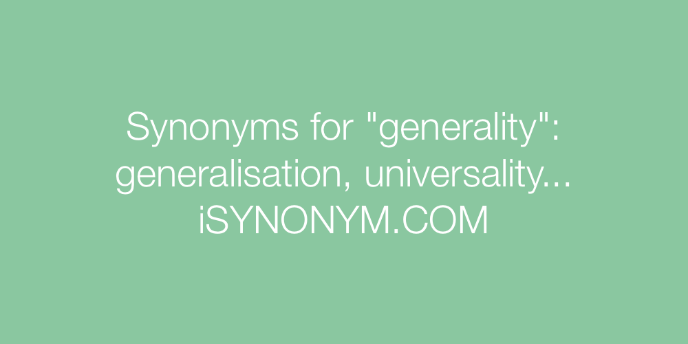 Synonyms generality