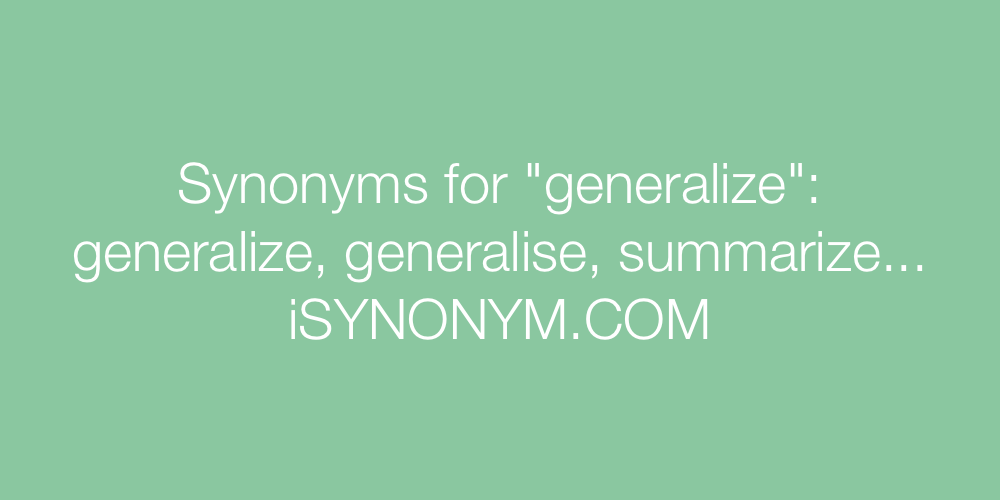 Synonyms generalize
