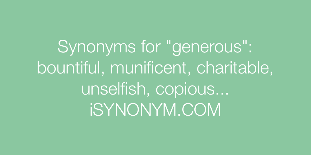Synonyms generous
