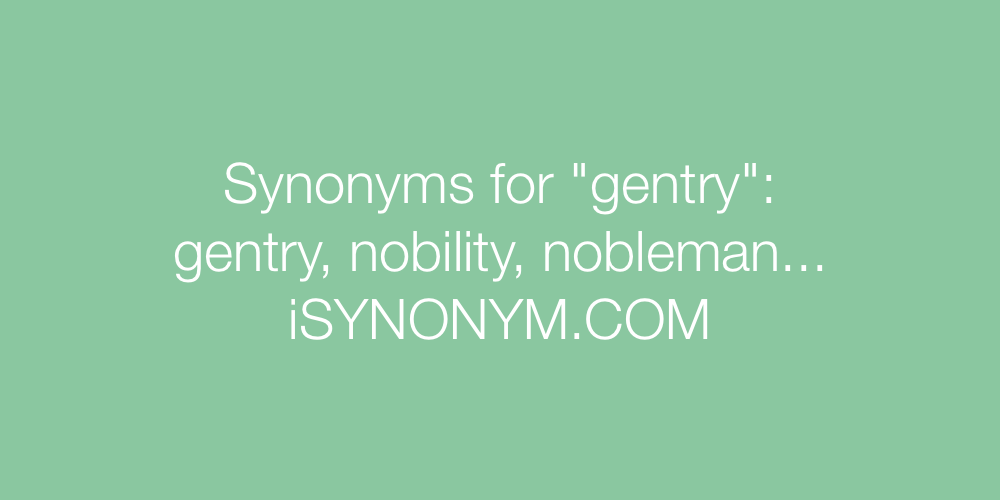 Synonyms gentry