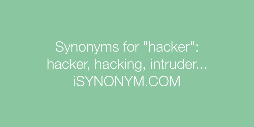 Synonyms hacker