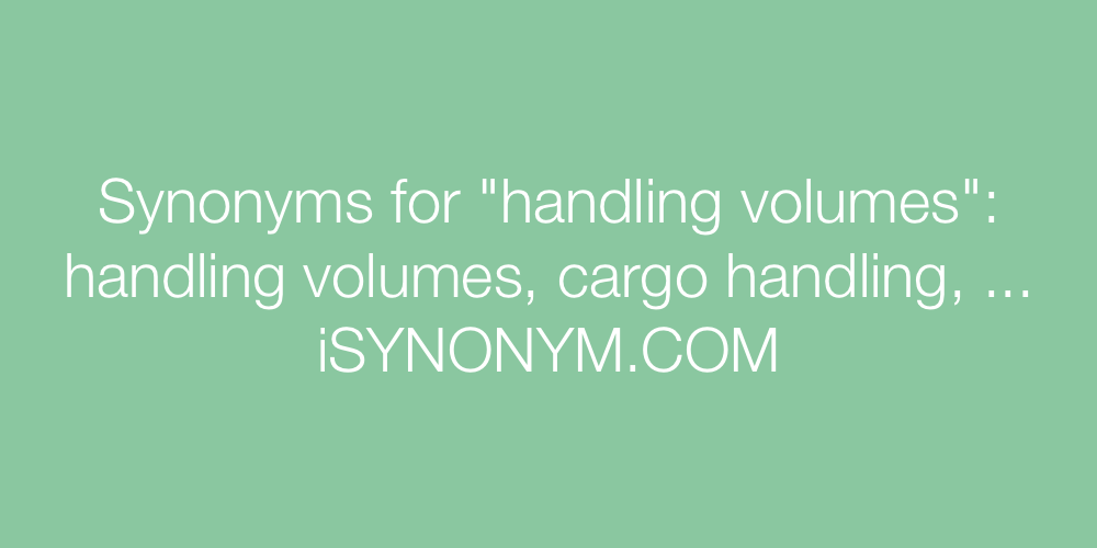 Synonyms handling volumes