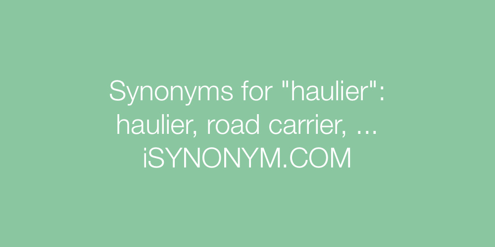 Synonyms haulier