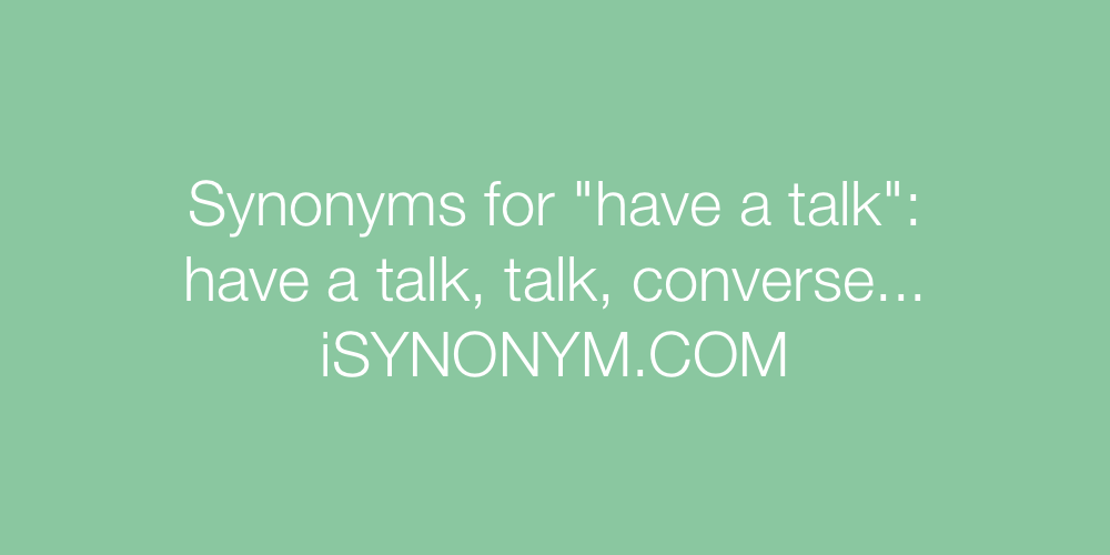 Synonyms have a talk