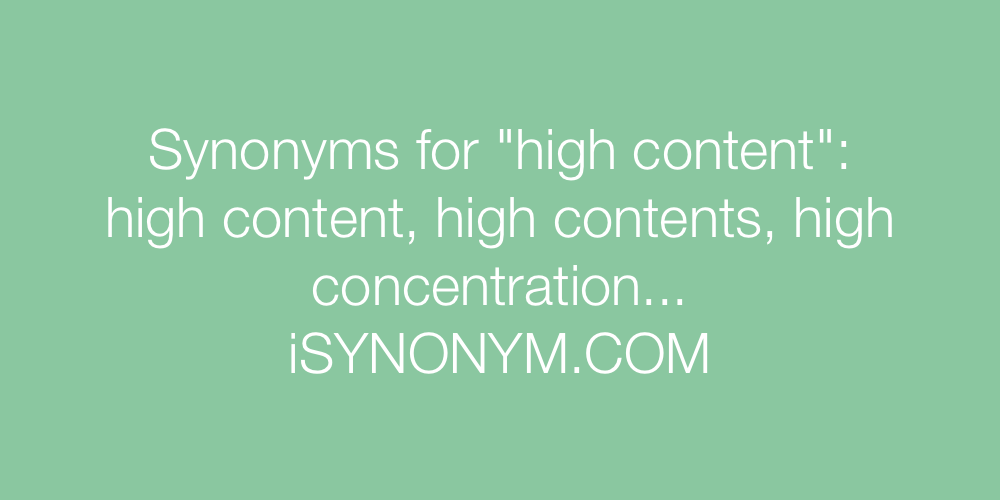Synonyms high content