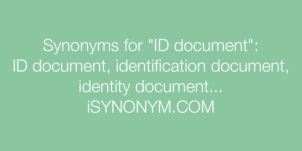 Synonyms ID document