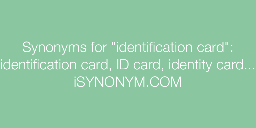 Synonyms identification card