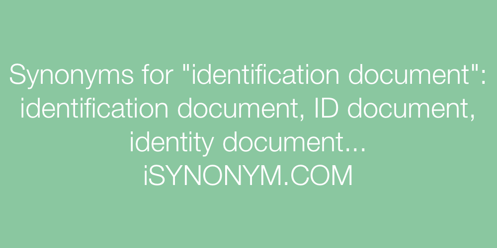 Synonyms identification document