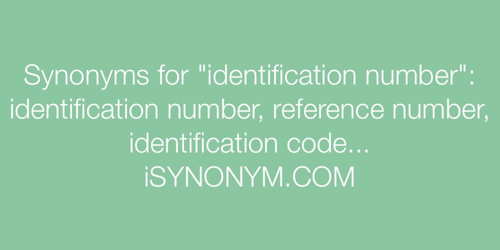 Synonyms identification number