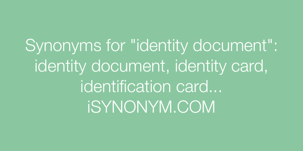 Synonyms identity document