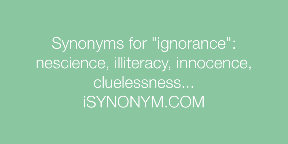 Synonyms ignorance