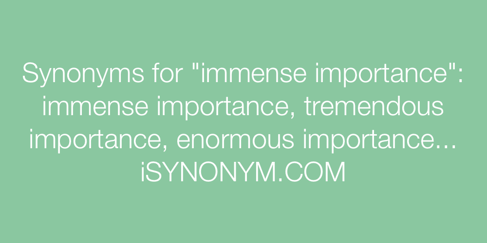 Synonyms immense importance