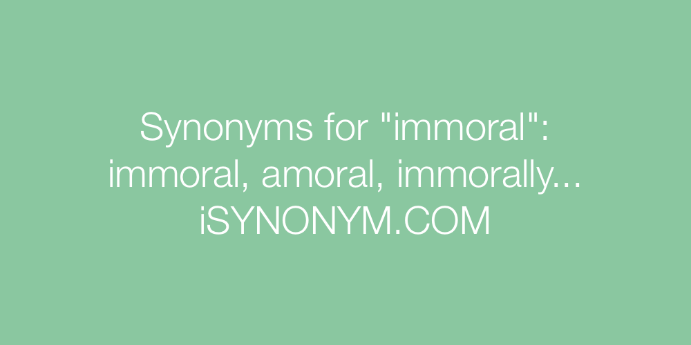 Synonyms immoral