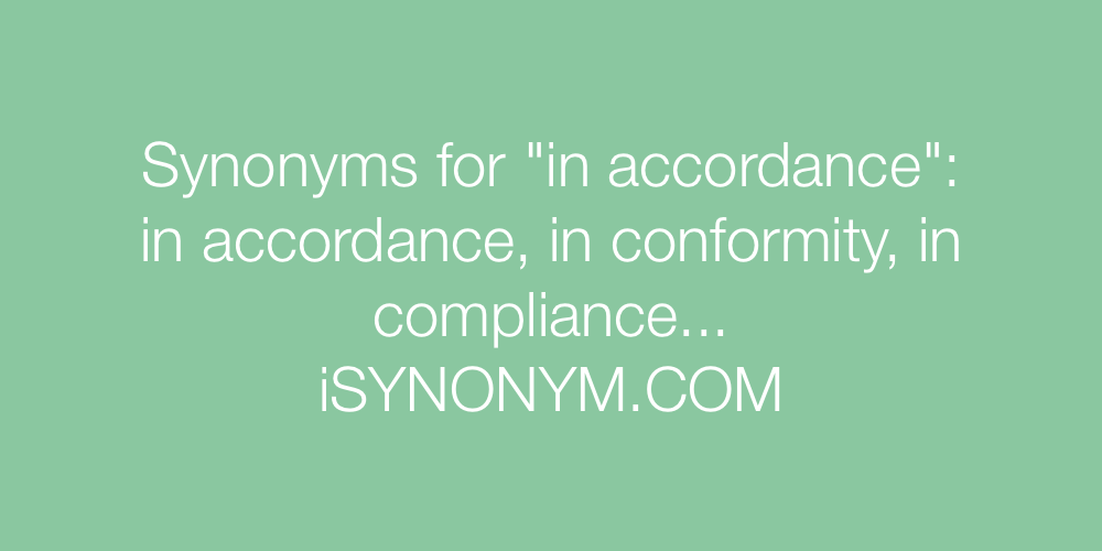 Synonyms in accordance
