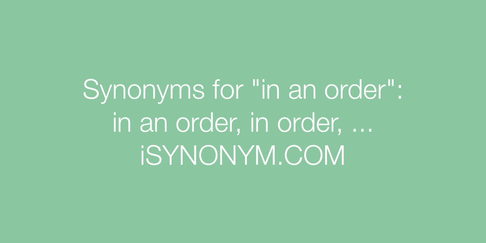 Synonyms in an order