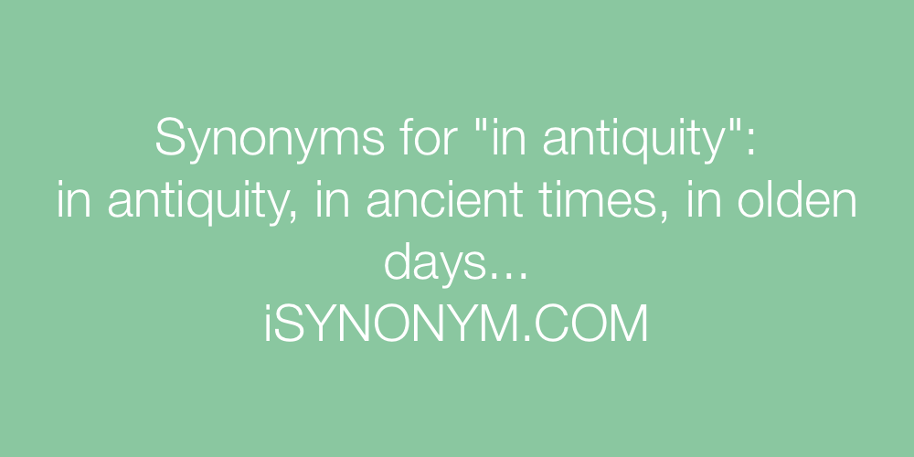 Synonyms in antiquity