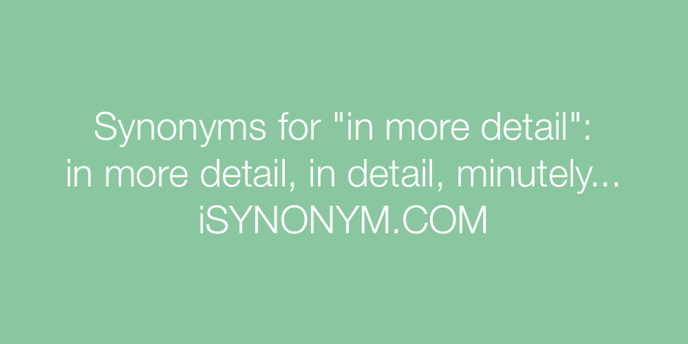 Synonyms in more detail