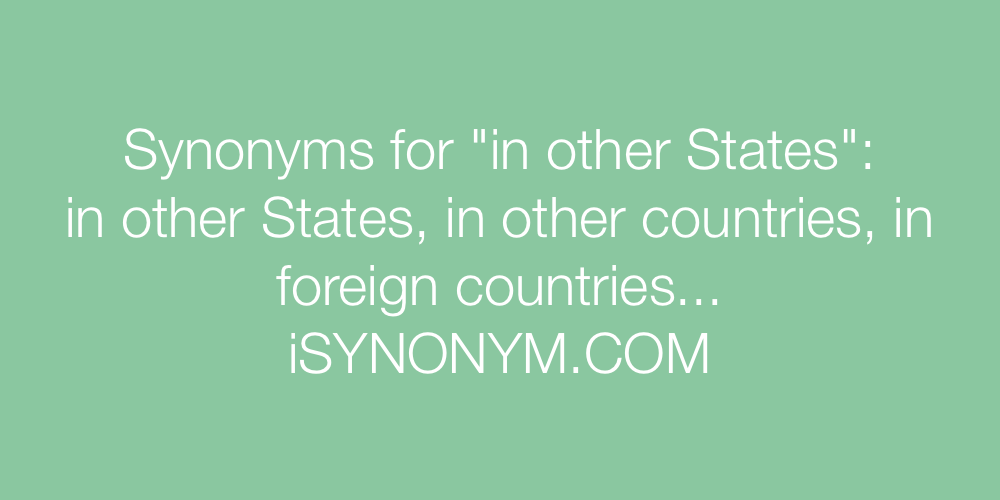 Synonyms in other States