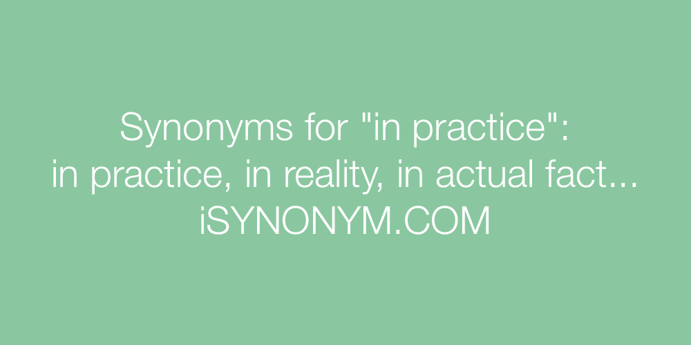 Synonyms in practice