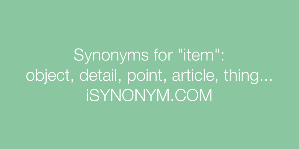 Synonyms item
