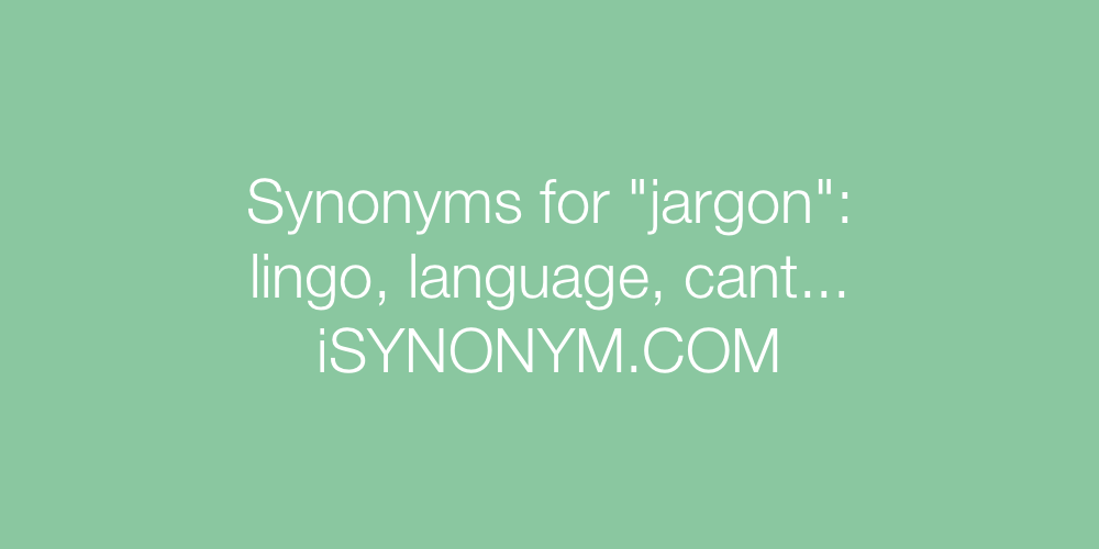Synonyms jargon
