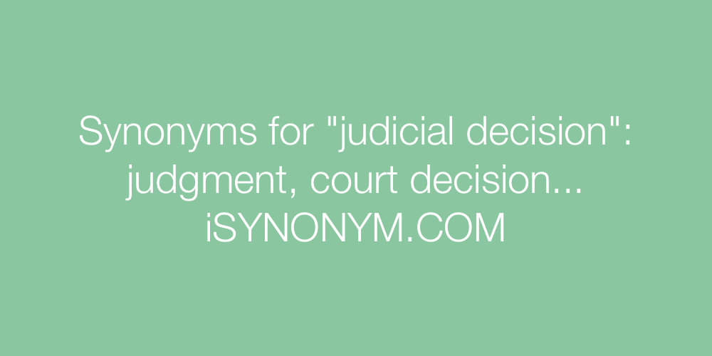 Synonyms judicial decision