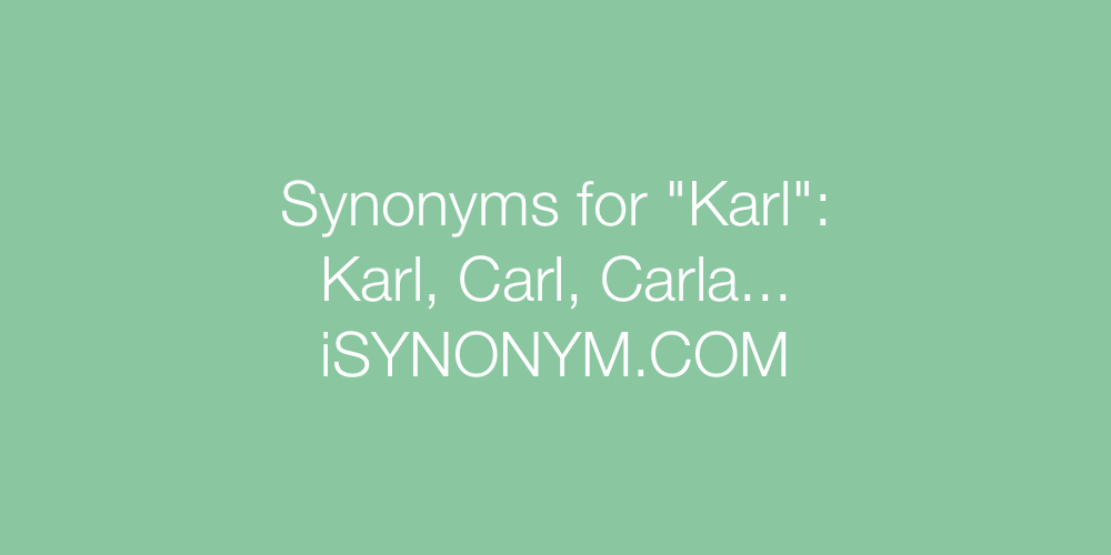 Synonyms Karl