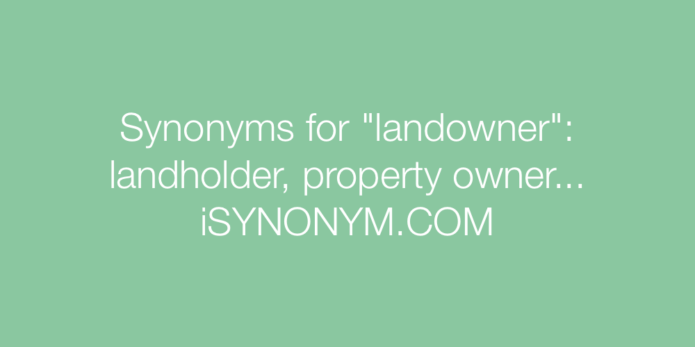 Synonyms landowner