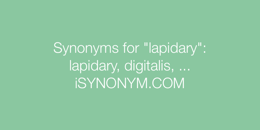 Synonyms lapidary