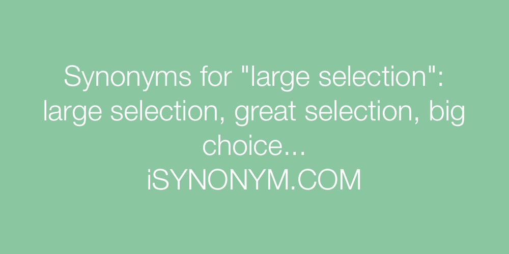 Synonyms large selection