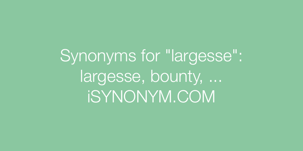 Synonyms largesse