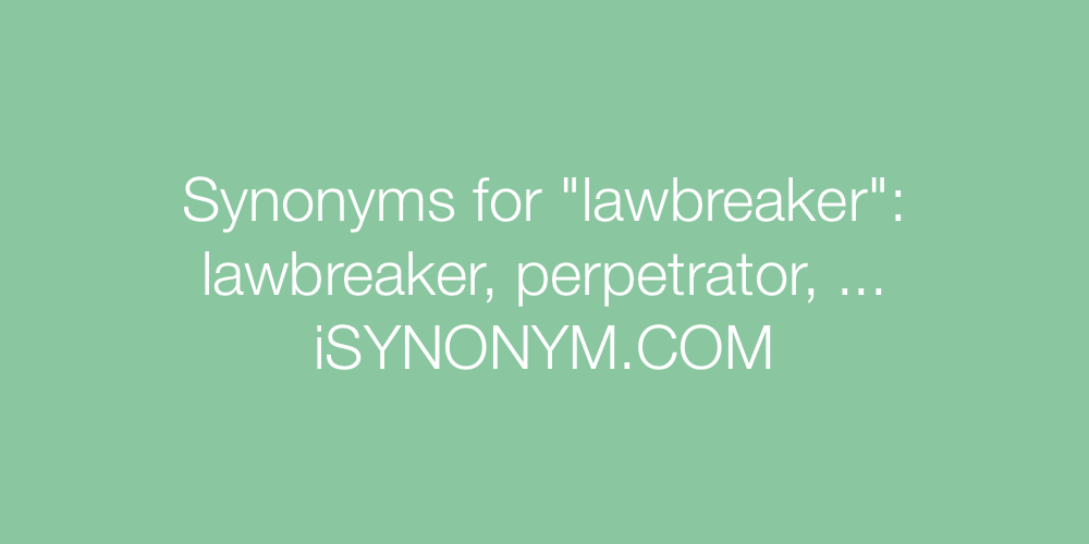 Synonyms lawbreaker