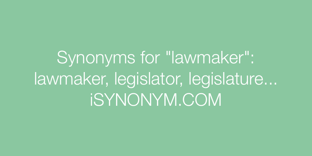 Synonyms lawmaker