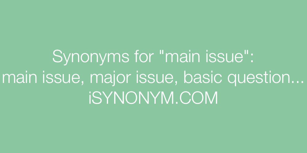 Synonyms main issue