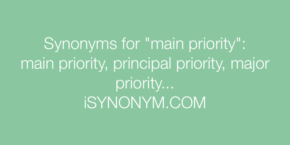 Synonyms main priority