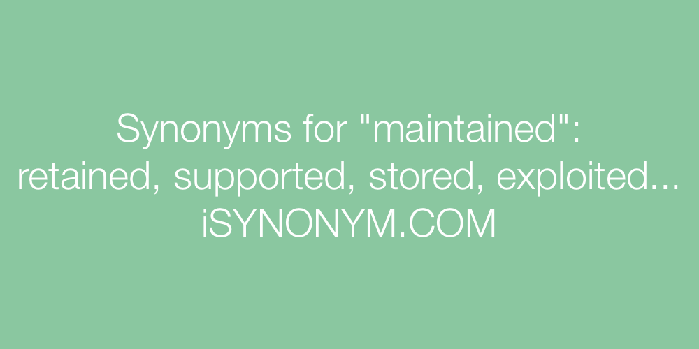 Synonyms maintained
