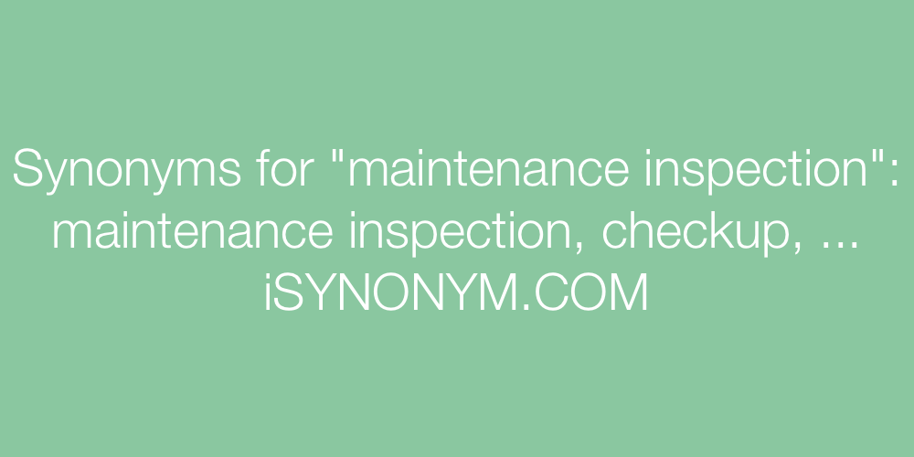 Synonyms maintenance inspection