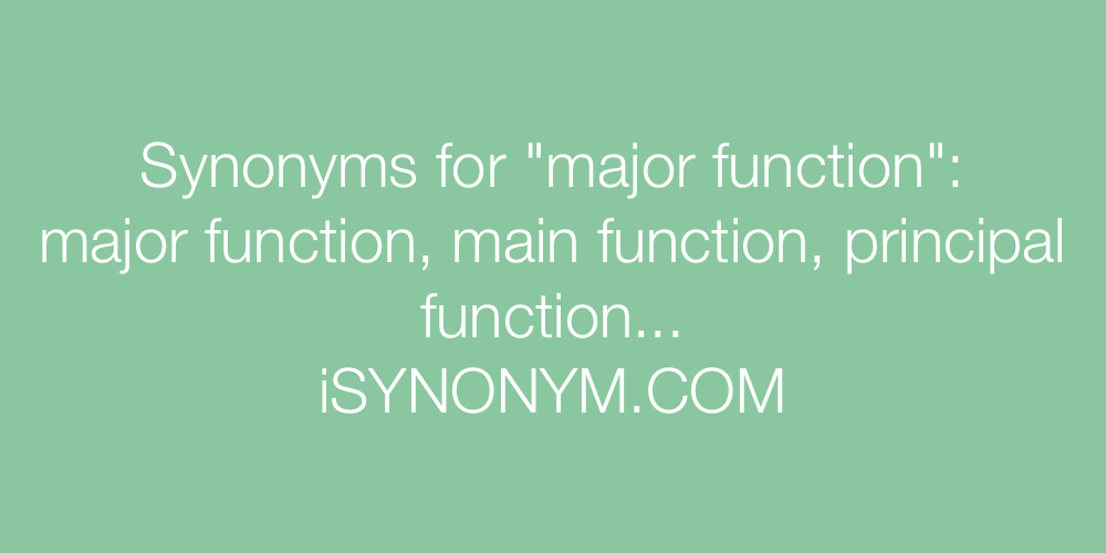 Synonyms major function