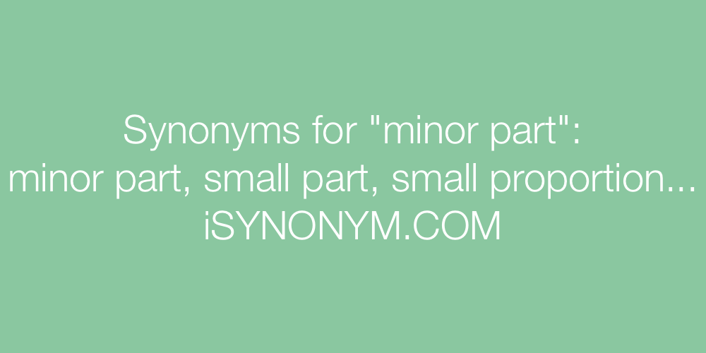 Synonyms minor part