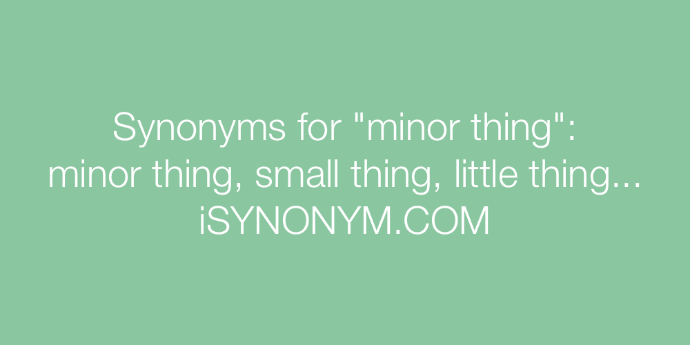 Synonyms minor thing