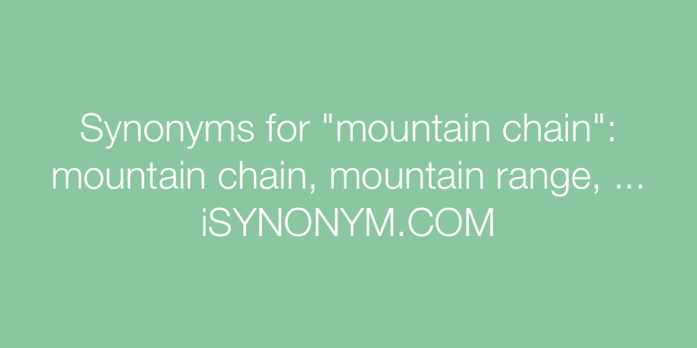 Synonyms mountain chain