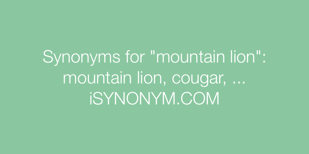 Synonyms mountain lion