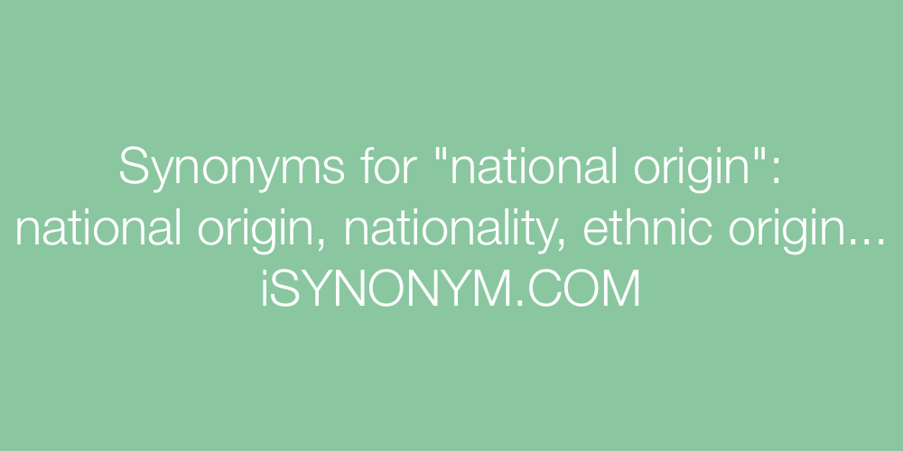 Synonyms national origin